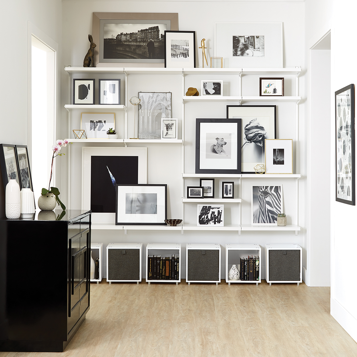 White White Elfa Decor Shelving Wall The Container Store