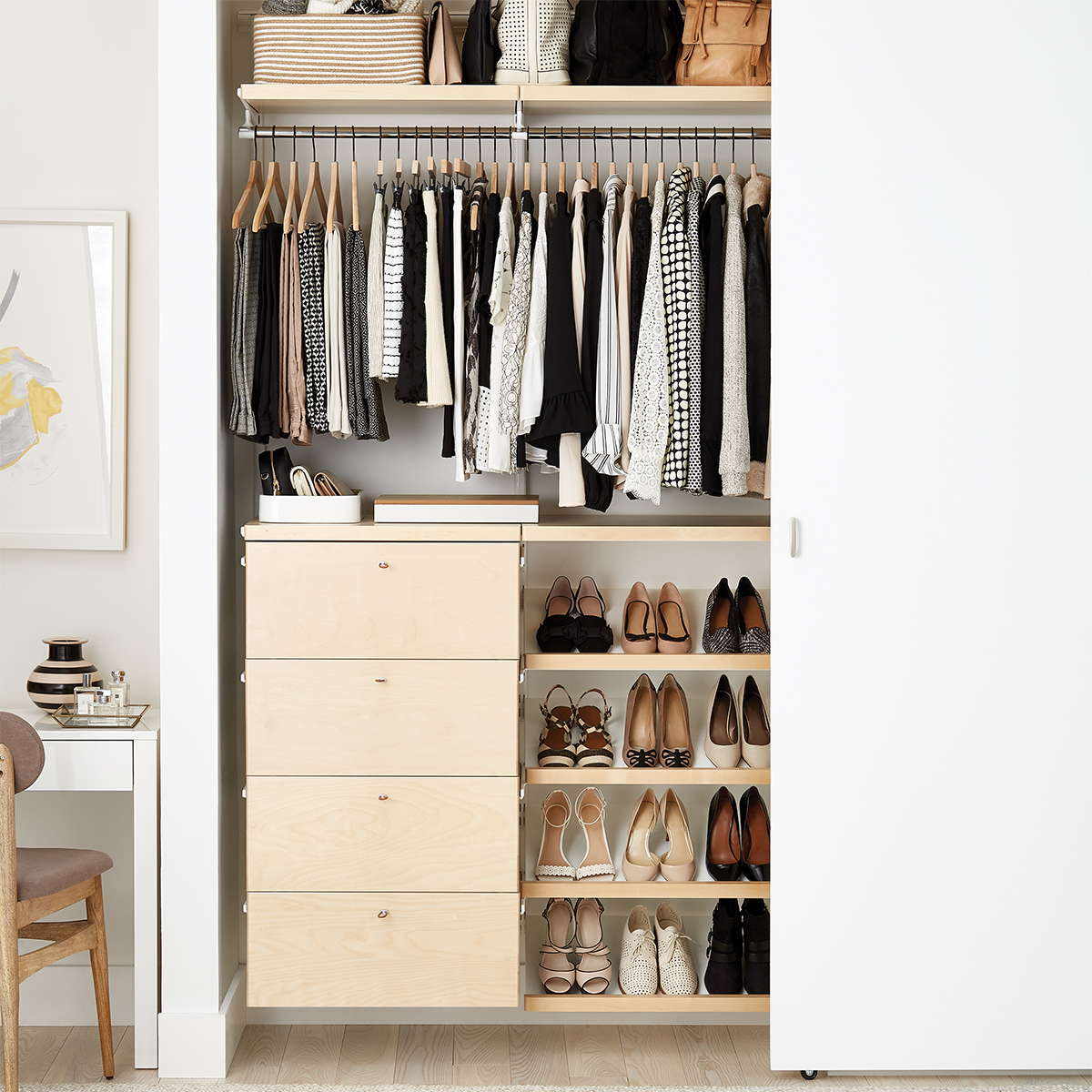 Elfa Storage System White And Birch Small Elfa Décor Reach In Closet The