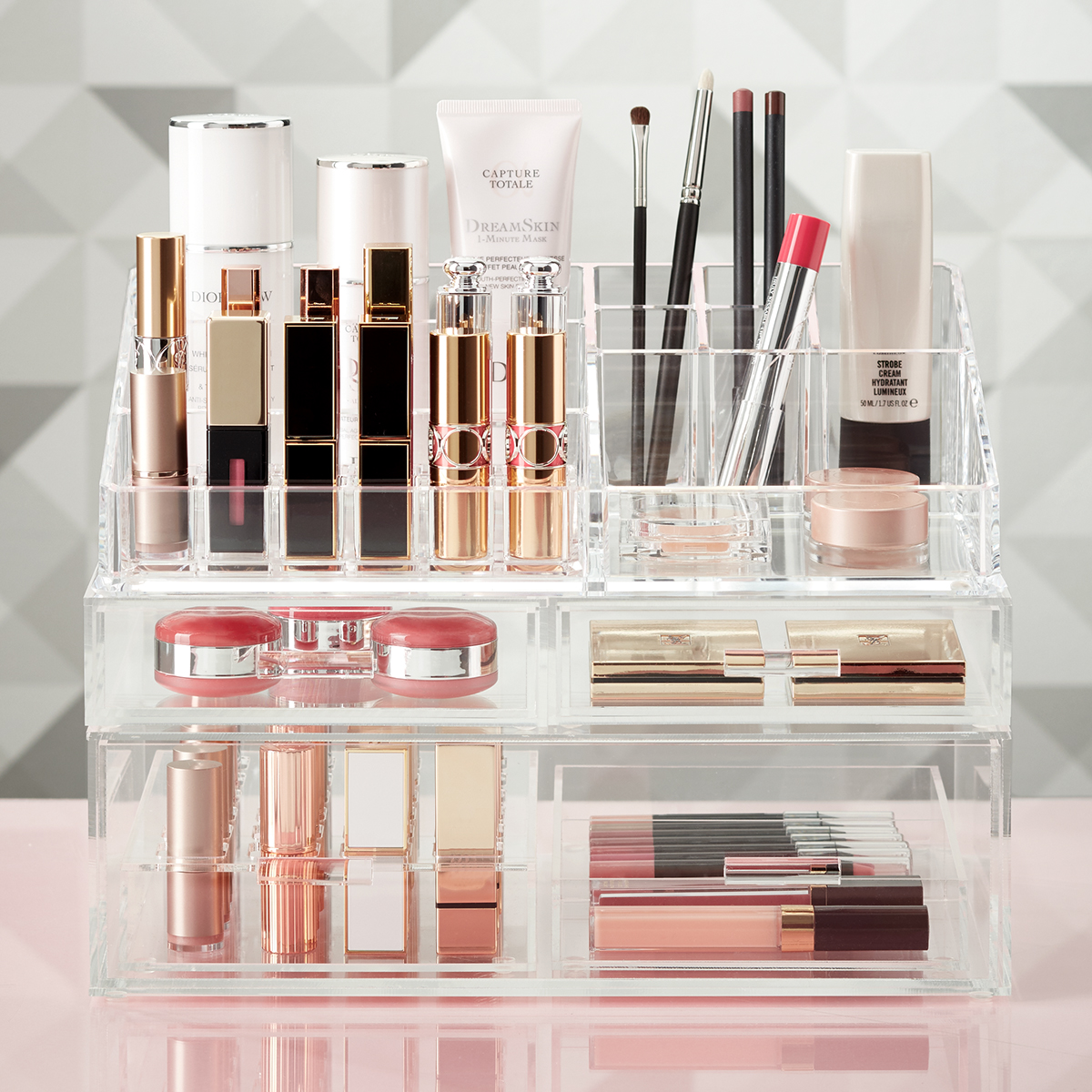 Makeup Storage Containers Luxe Acrylic Lipstick And Makeup Storage Kit The Container