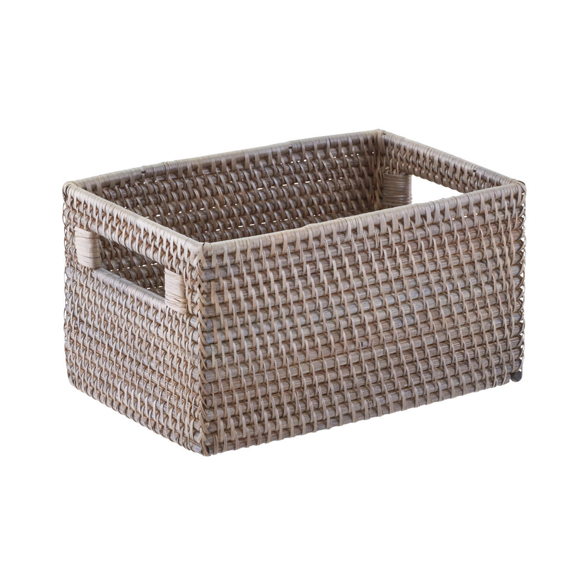 Grey Rattan Storage Bins With Handles The Container Store