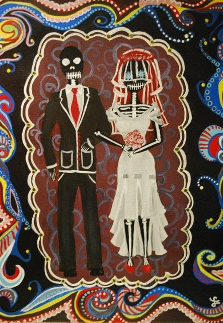 Hair Styling Spray Day Of The Dead Wedding Couple · A Drawing Or Painting