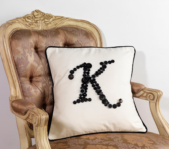 black monogram pillow