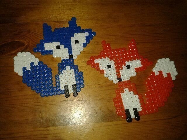 Hama Bead Foxes A Beaded Animal Art On Cut Out Keep