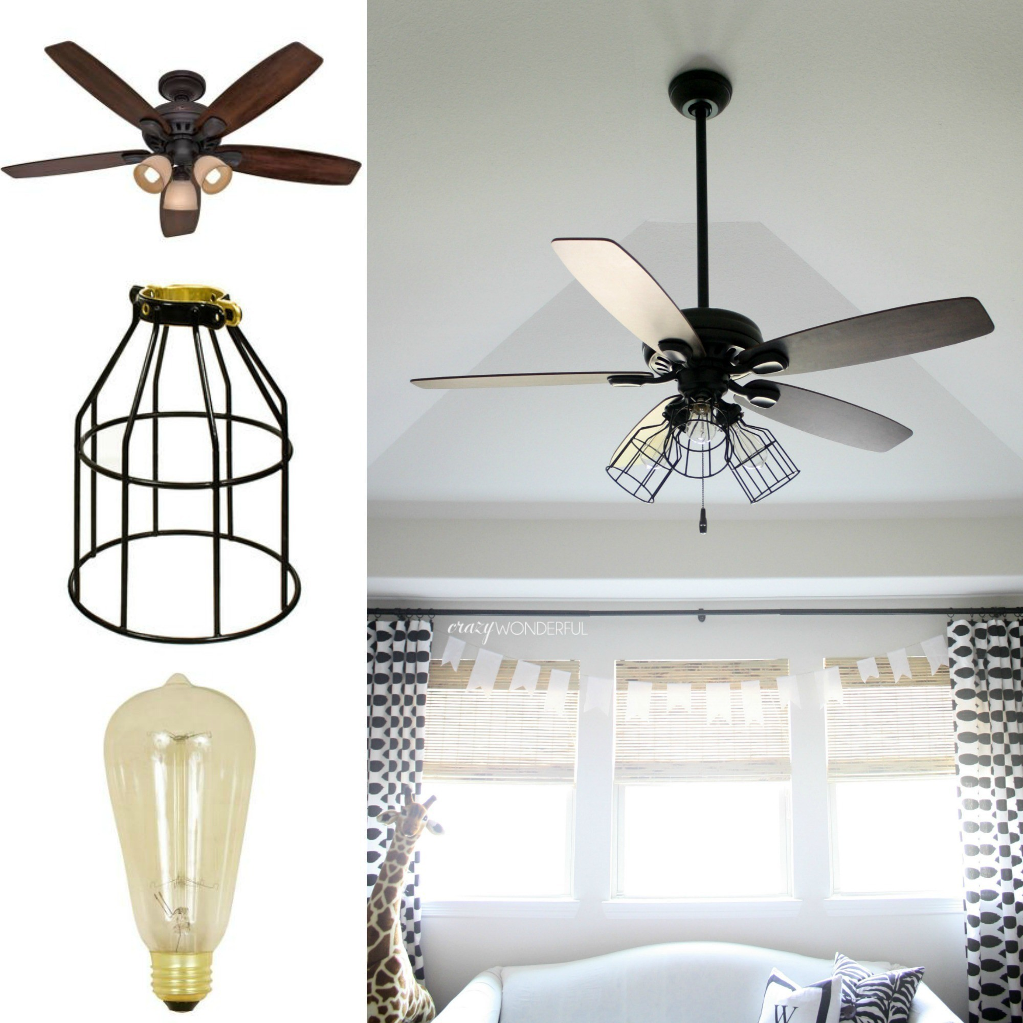 Rustic Ceiling Fan Light Fixtures Diy Cage Light Ceiling Fan A Hanging Light Home Diy On Cut