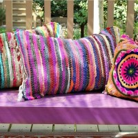 No Sew Rag Rug Pillows  How To Make A Floor Cushion ...