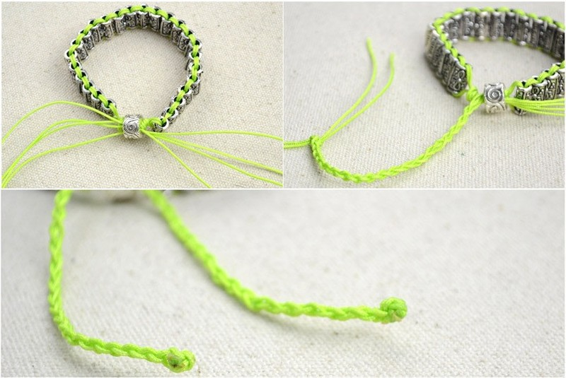 Diy Beaded Bracelet With Antique Silver Colored Tube Beads