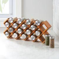 18-Jar Acacia Wood Spice Rack | Crate and Barrel