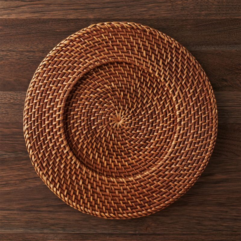 Velvet Sectional Artesia Honey Rattan Charger Plate + Reviews | Crate And