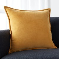 "Brenner Yellow 20"" Velvet Pillow with Feather-Down Insert ..."
