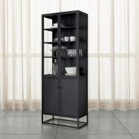 Casement Black Tall Cabinet | Crate and Barrel