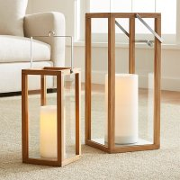 Crosby Wooden Hurricane Lanterns | Crate and Barrel