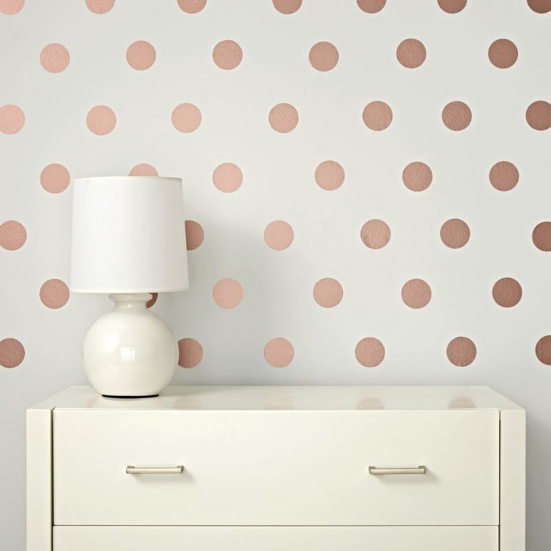 Baby Girl Wallpaper Pink Rose Gold Polka Dot Wall Decals Reviews Crate And Barrel