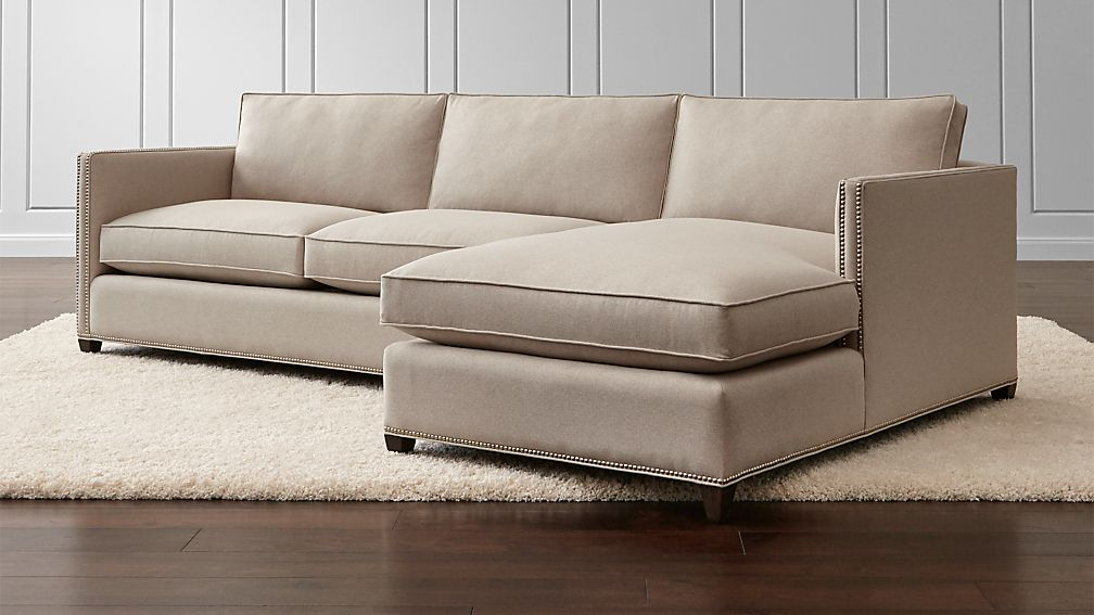 Sofa Fabric Hs Code Dryden 2-piece Sectional With Nailheads | Crate And Barrel