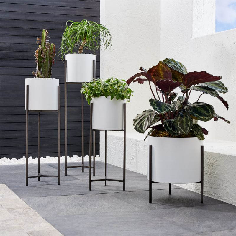 Ikea Shopping Cart Dundee White Floor Planters | Crate And Barrel