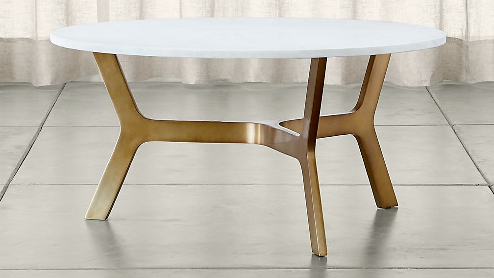 Couchtisch Mid Century Elke Round Marble Coffee Table With Brass Base | Crate And