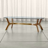 Elke Rectangular Glass Coffee Table with Brass Base ...