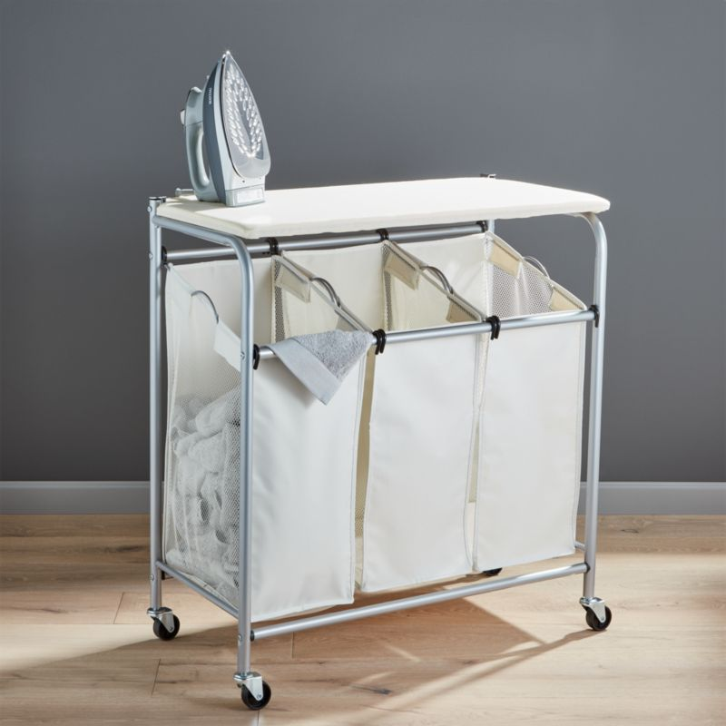 Triple Laundry Sorter With Ironing Board Reviews Crate and Barrel