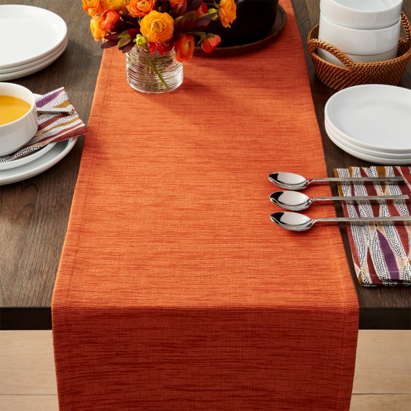 "Chaises Wooden Grasscloth 90"" Orange Table Runner 