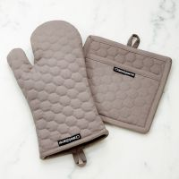 Grey Quilted Oven Mitt and Pot Holder | Crate and Barrel