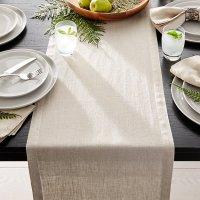 "Helena Dark Natural Linen 90"" Table Runner | Crate and Barrel"