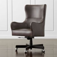 Liv Leather Wingback Desk Chair | Crate and Barrel