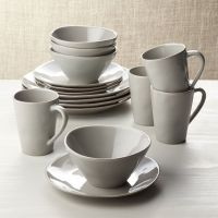 Marin Grey 16-Piece Dinnerware Set | Crate and Barrel
