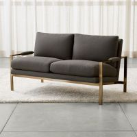 Milo Chair with Brushed Brass Base | Crate and Barrel