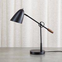 Morgan Black Metal Desk Lamp with USB Port | Crate and Barrel