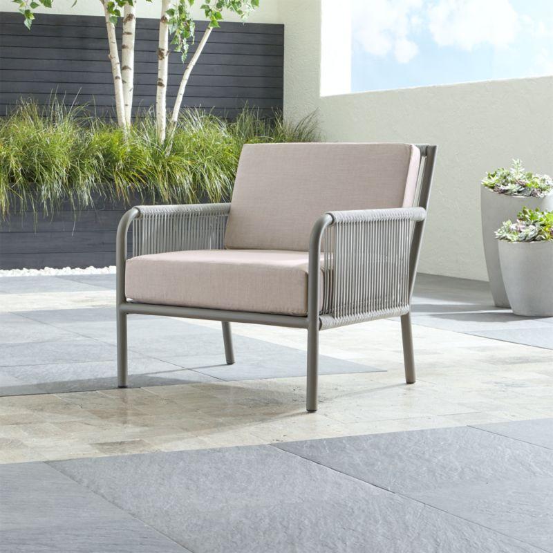 Morocco Light Grey Lounge Chair With Silver Sunbrella