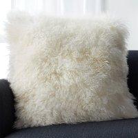 "Pelliccia Ivory 23"" Mongolian Lamb Fur Pillow with Down ..."