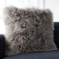Grey Mongolian Fur Pillow   Crate and Barrel