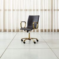 Ripple Black Leather Office Chair with Brass Frame ...