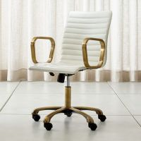 Ripple Ivory Leather Office Chair with Brass Frame ...