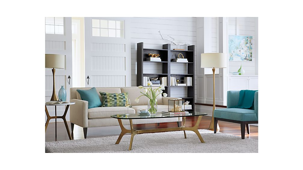 Elke Round Marble End Table with Brass Base Crate and Barrel - living room end tables