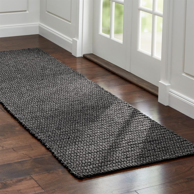 Salome charcoal grey indoor outdoor rug runner crate and