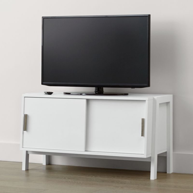 Buffets Ikea Sawyer Low White Media Stand + Reviews | Crate And Barrel