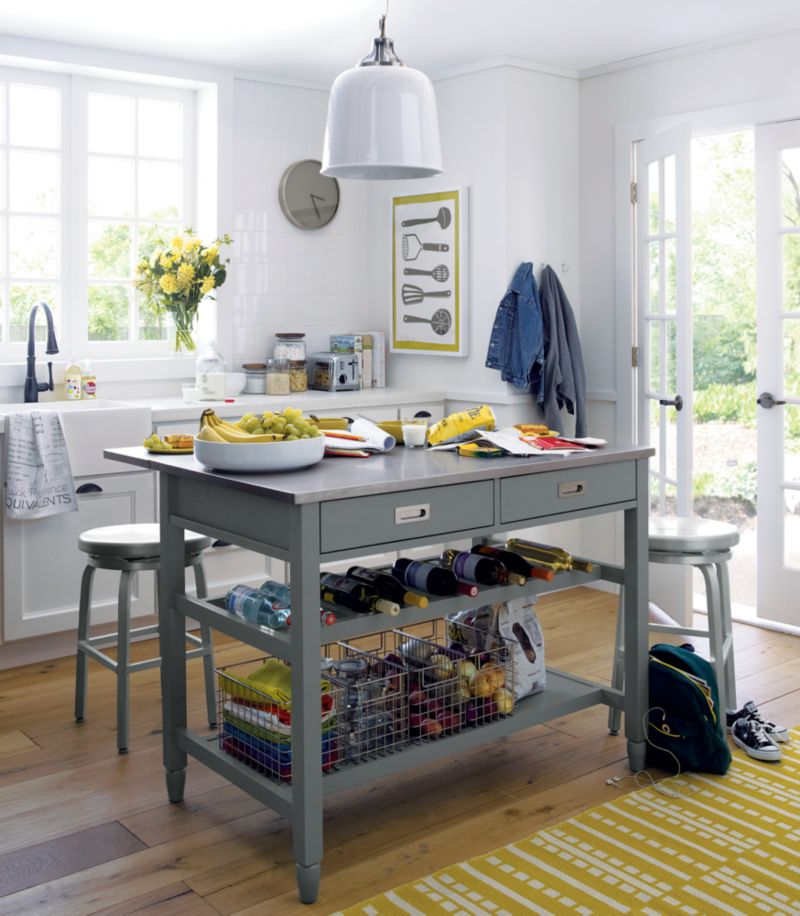 Kitchen Island Carts With Seating Sheridan Grey Kitchen Island + Reviews | Crate And Barrel