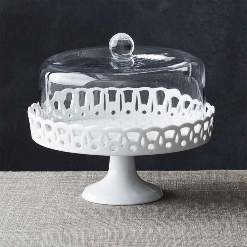 Vintage Outdoor Dining Furniture Sophia Cake Stand With Glass Dome + Reviews | Crate And Barrel