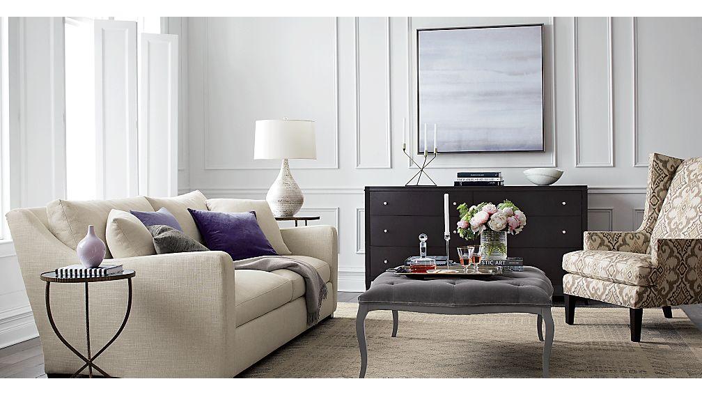 Verano Cream Sofa Crate and Barrel - crate and barrel living room