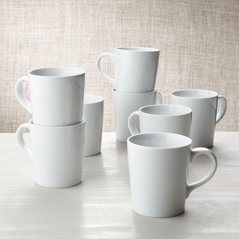 White Porcelain Mug Set: 8 Coffe Mugs + Reviews