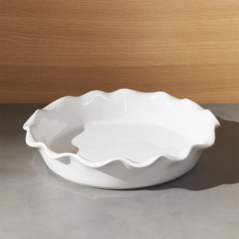 White Kitchen Islands Ruffled Pie Dish + Reviews | Crate And Barrel