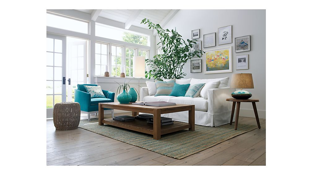 Willow White Slipcovered Sofa Crate and Barrel - crate and barrel living room