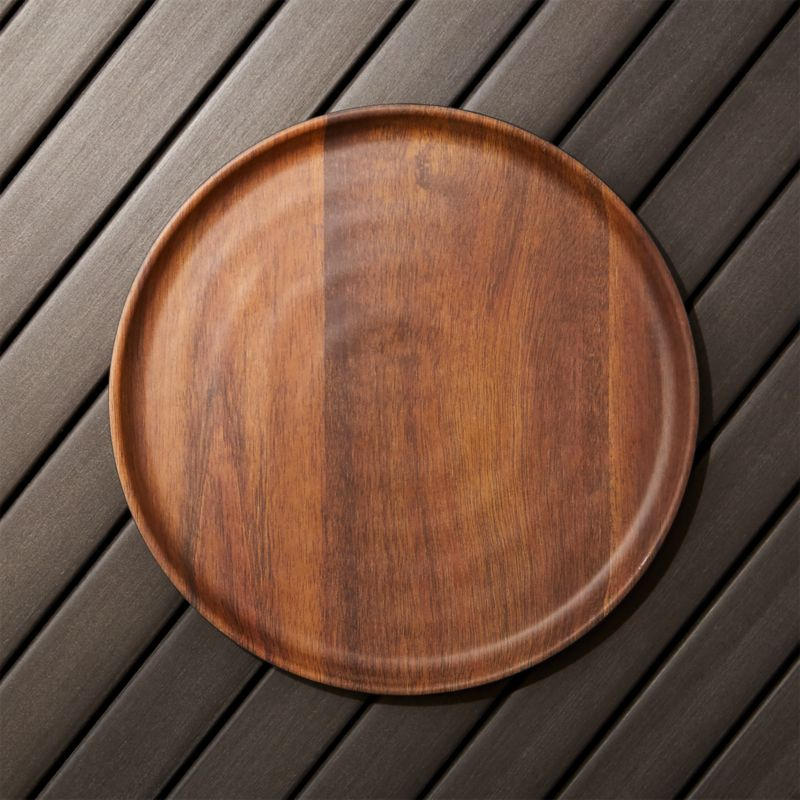 Chair Sleeper Wood Grain Melamine Dinner Plate + Reviews | Crate And Barrel