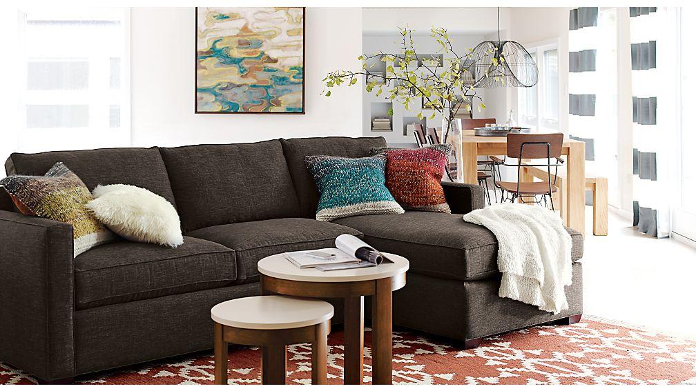 Davis Left Arm Apartment Sofa Crate and Barrel - crate and barrel living room