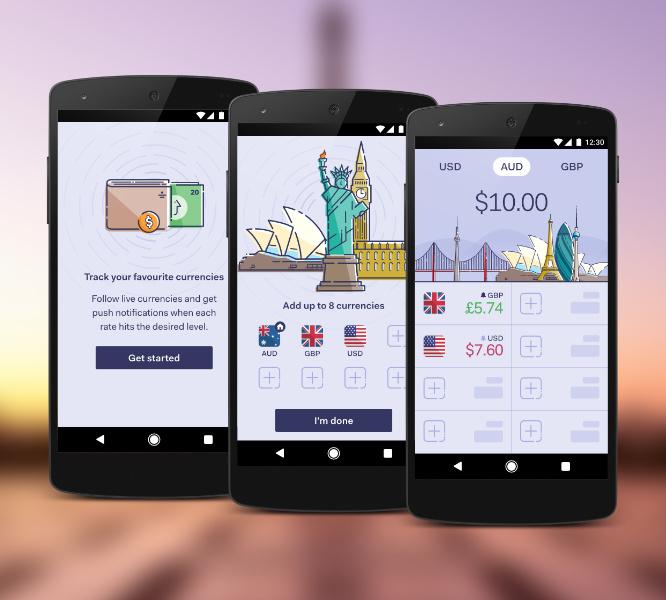 Currency App UI Design/Illustration Freelance UI Designer Melbourne