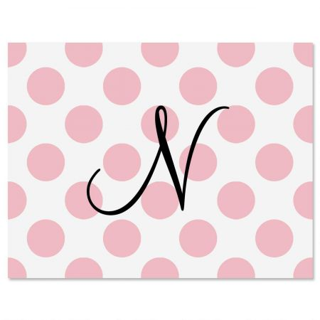 Pink Dots Initial Personalized Note Cards Current Catalog