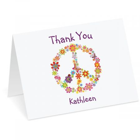 Peace Sign Personalized Thank You Note Cards Current Catalog - Thank You Note