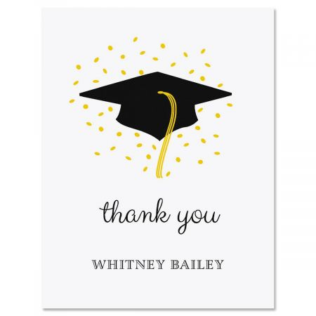 Confetti and Cap Graduation Personalized Thank You Cards Current