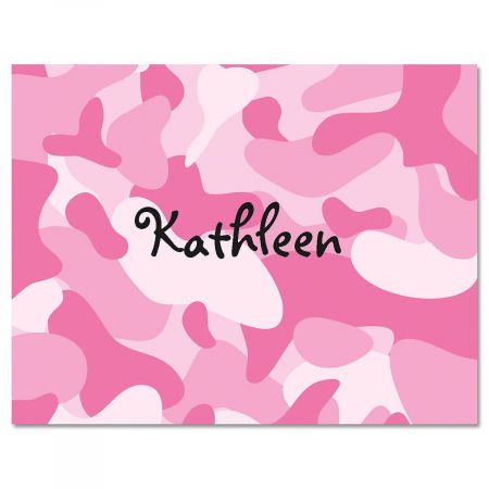 Pink Camouflage Personalized Note Cards Current Catalog