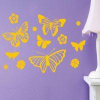 Butterflies Flowers Vinyl Wall Art